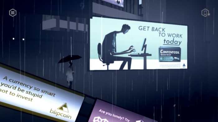 Mosaic gameplay showing our protagonist during his commute