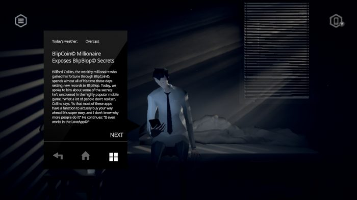 The protagonist of Mosaic reads a news story