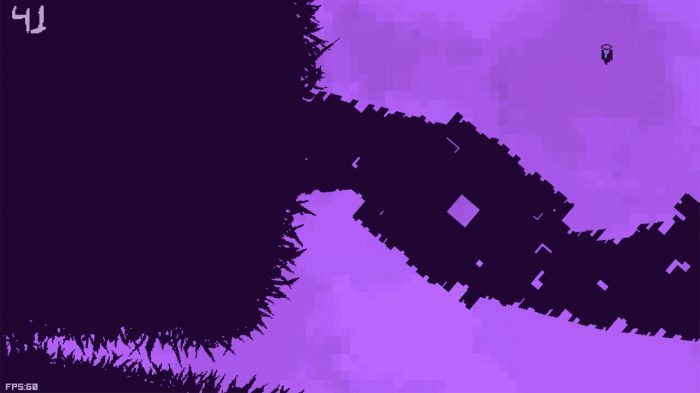 Dark obstacles against a purple background