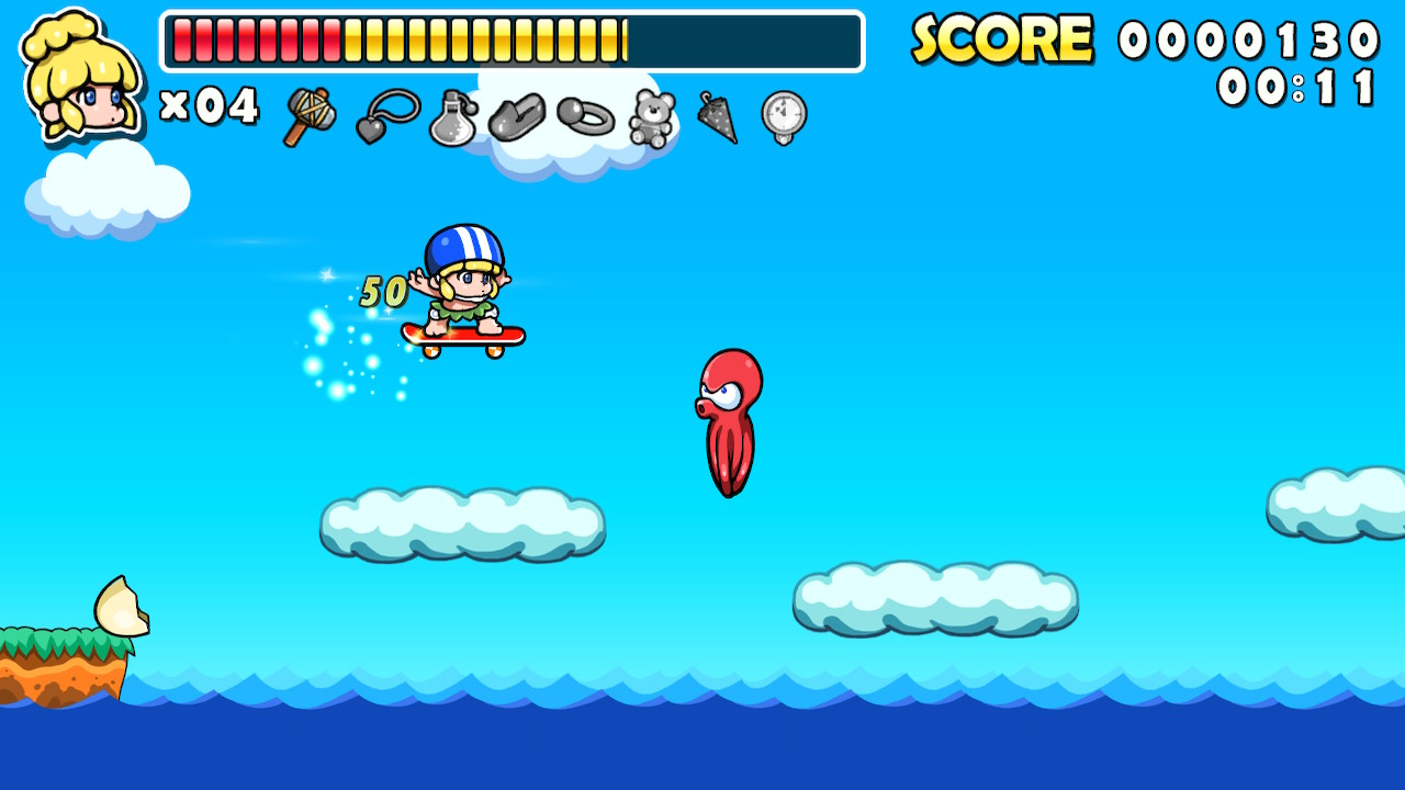 Wonder Boy hovers on a skateboard in mid-air, above a cloud, about to come into contact with an octopus leaping out of the water