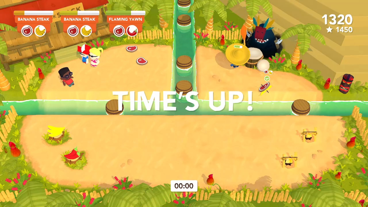 "The text ""time's up"" is shown in big letters in the middle of the screen whilst a completed meal lies uneaten on the floor"