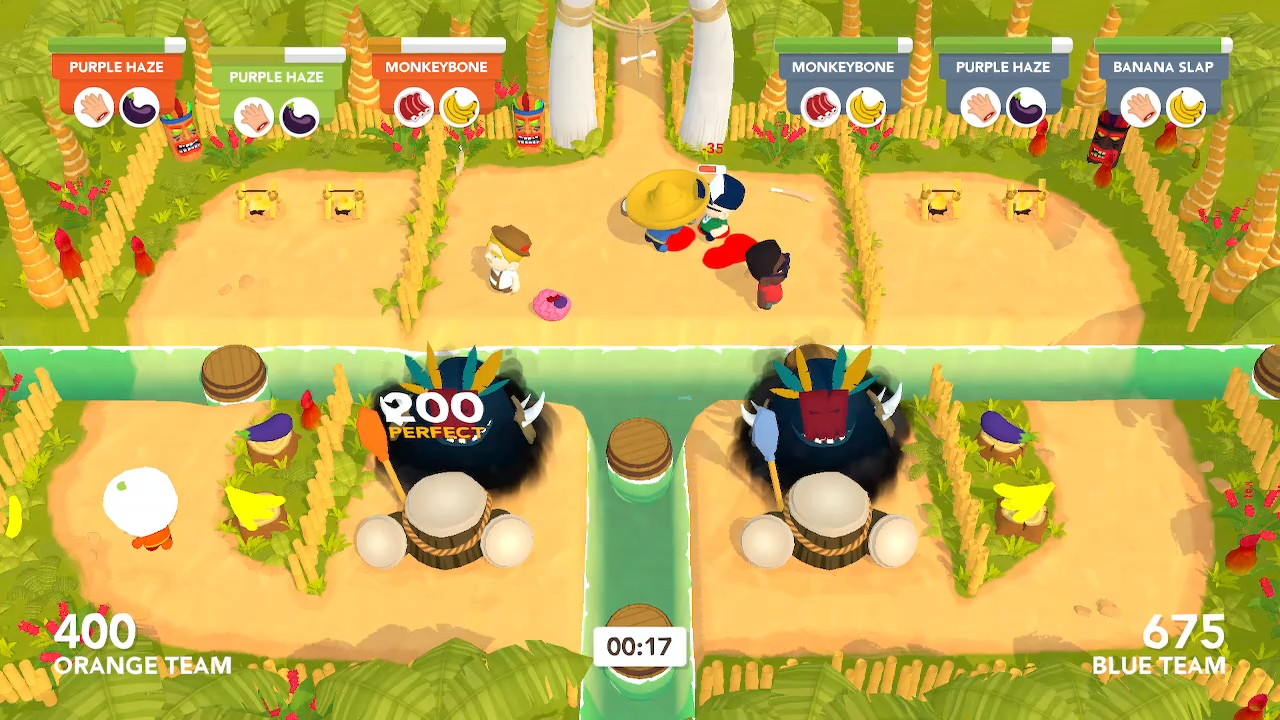 Two 'god' creatures are at the bottom of the screen, as one player attacks tourists on an island at the top