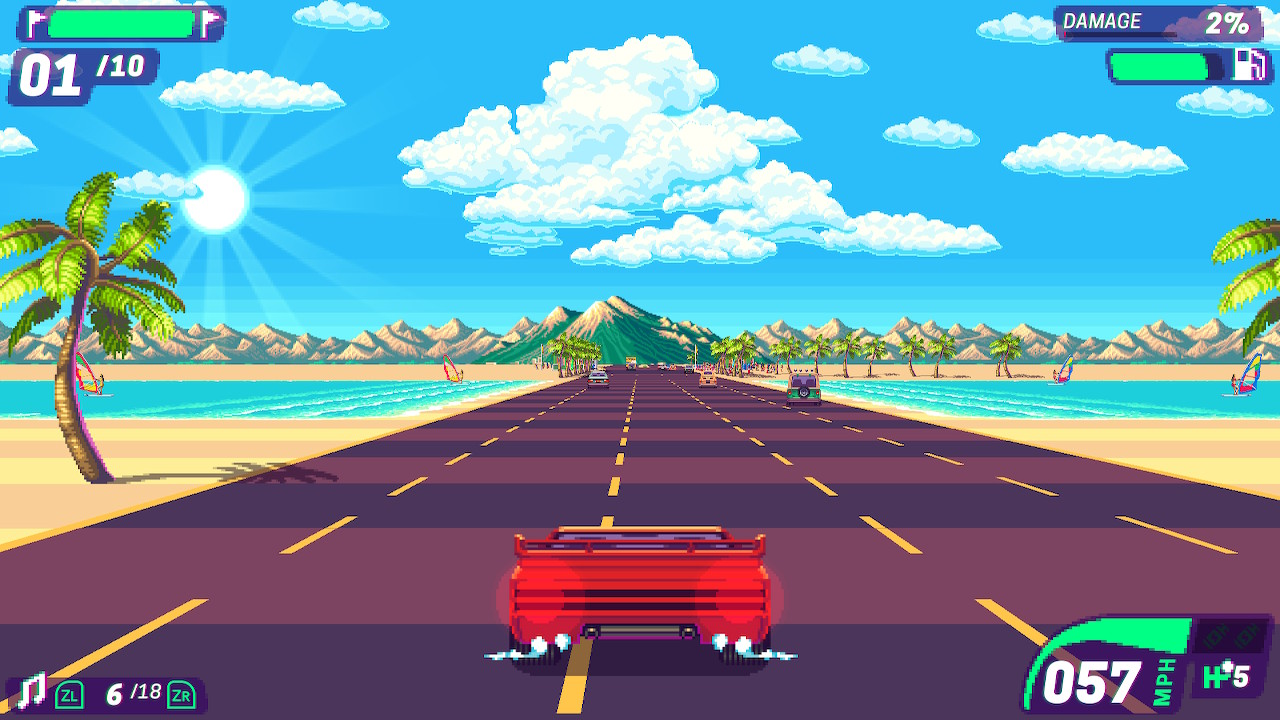 A red car sits in the foreground with the road stretching into the distance, below a bright blue sky, with palm trees and water off to the sides