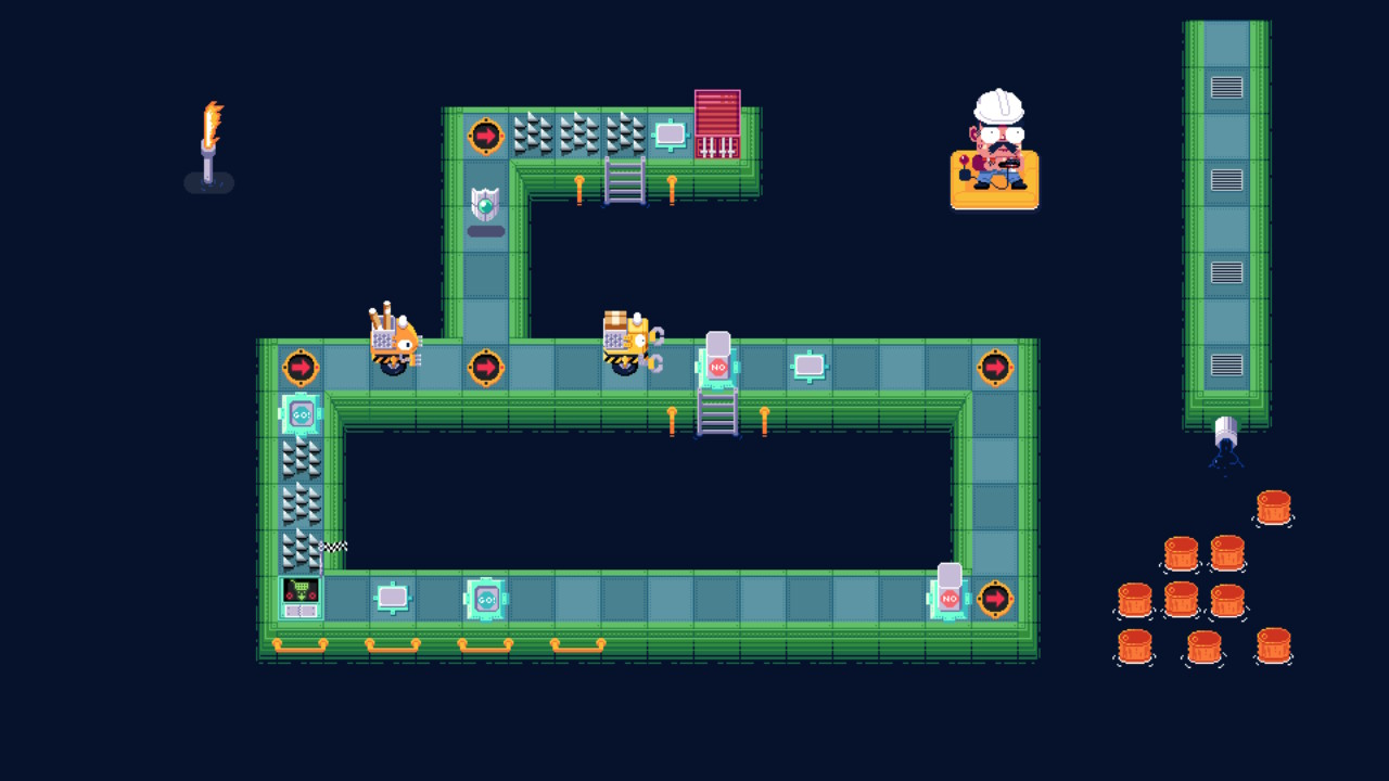 A different-coloured level with many spikes and switches which control pillars