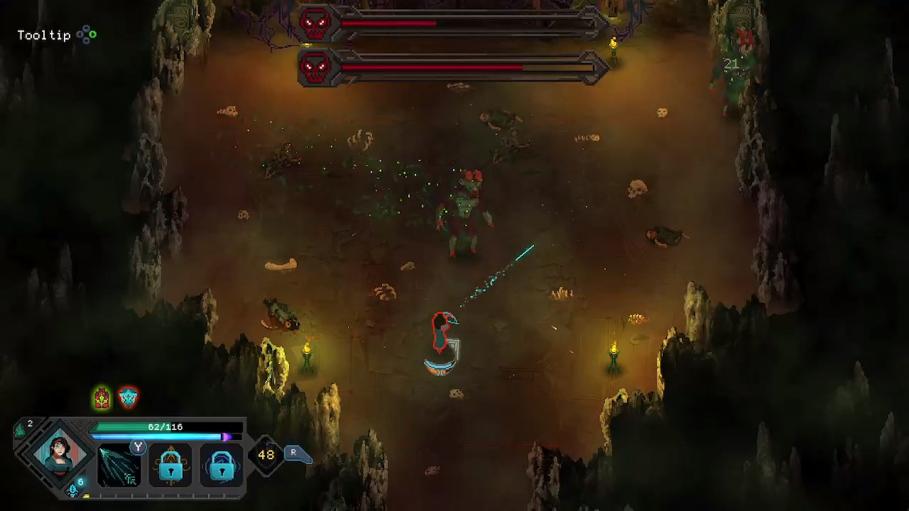 The player's character shoots a neon arrow towards a large goblin boss, whilst facing another nearby