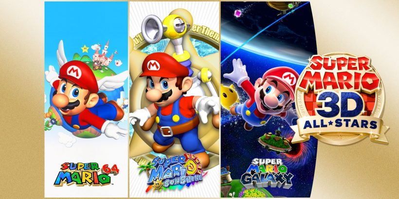 Promotional image showing a Mario pose from each of the three games