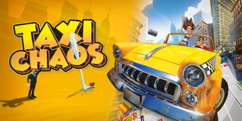 A big yellow Taxi flies forwards at the viewer alongside the game title, Taxi Chaos