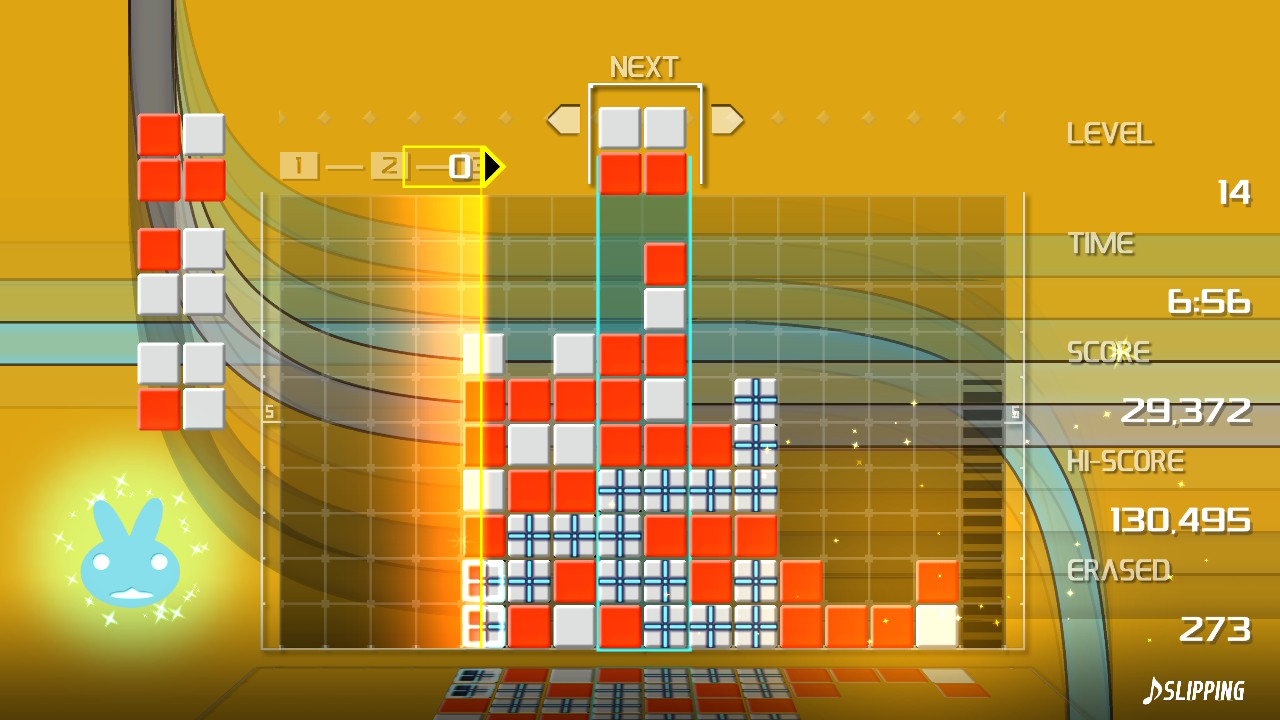 Gameplay of the Slipping skin, with lines moving around all in the background.