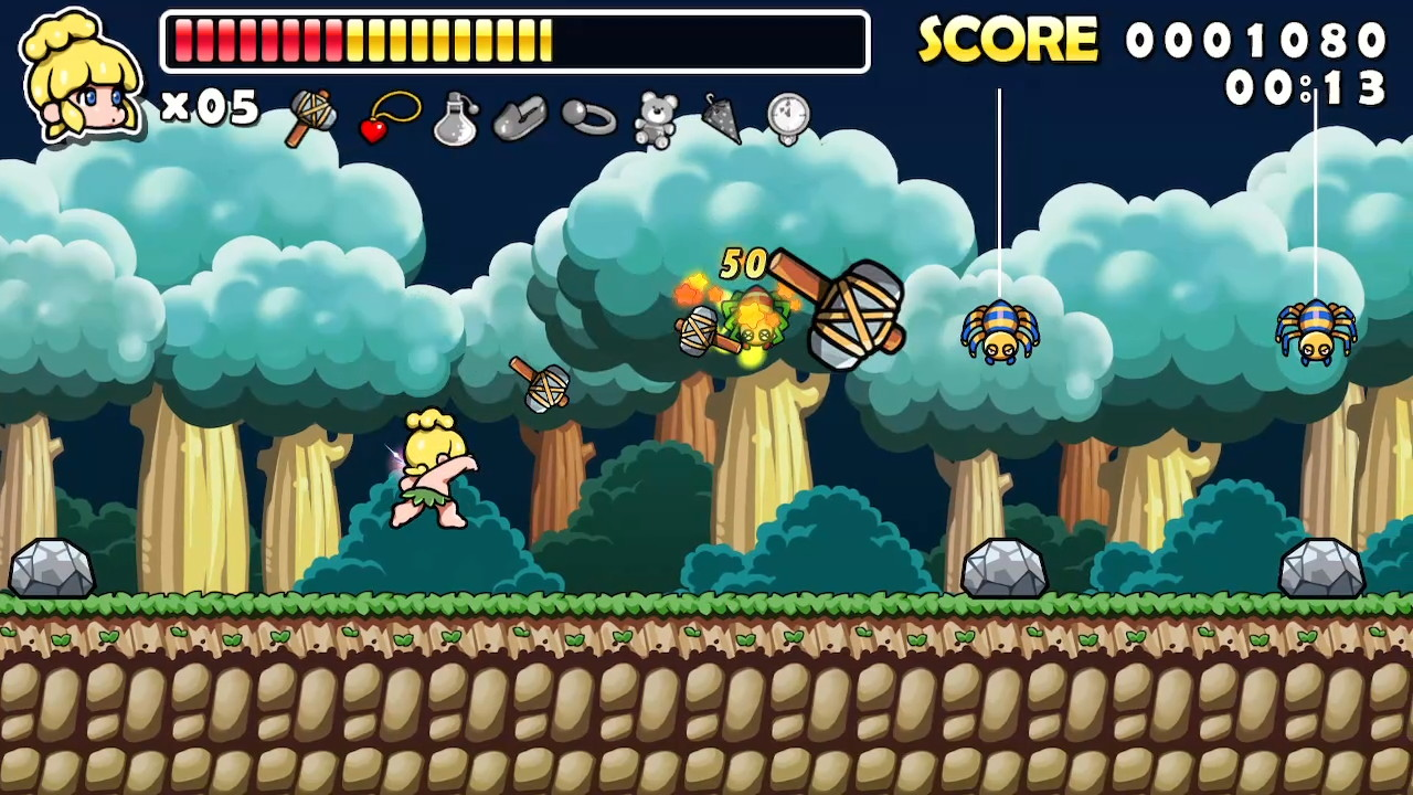 Wonder Boy throws two small axes and one huge one towards a line of three spiders with two rocks on the floor below them