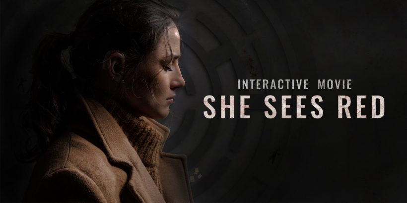 Woman in coat, with text: She Sees Red