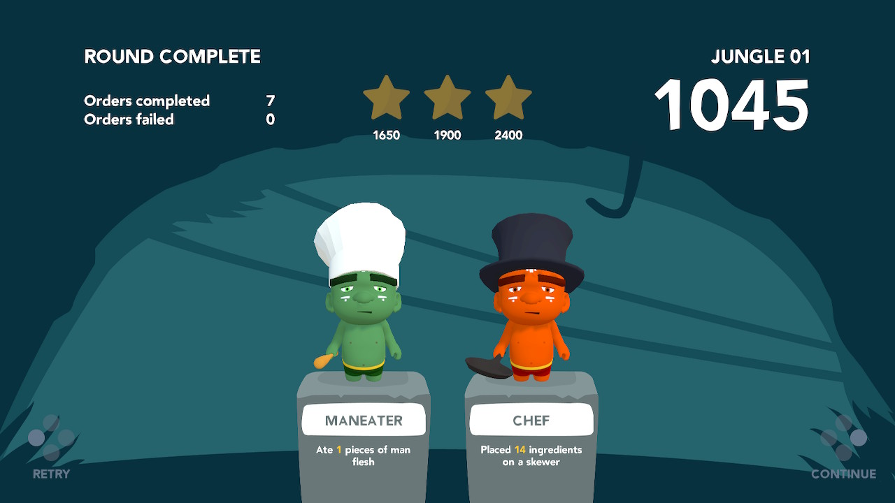 """Two player characters are shown side-by-side, one labelled """"maneater"""", the other """"chef"""""""
