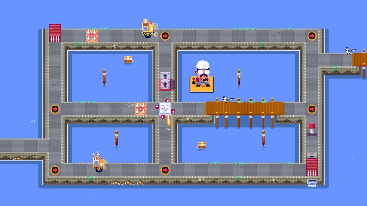 In the centre of an intersection is a boss enemy, wielding a flame-thrower