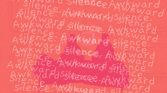 """Repeating text on a red background saying """"awkward silence"""" over and over"""