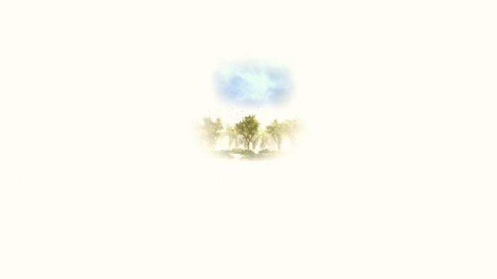 This is a watercolour image of trees and a blue sky.